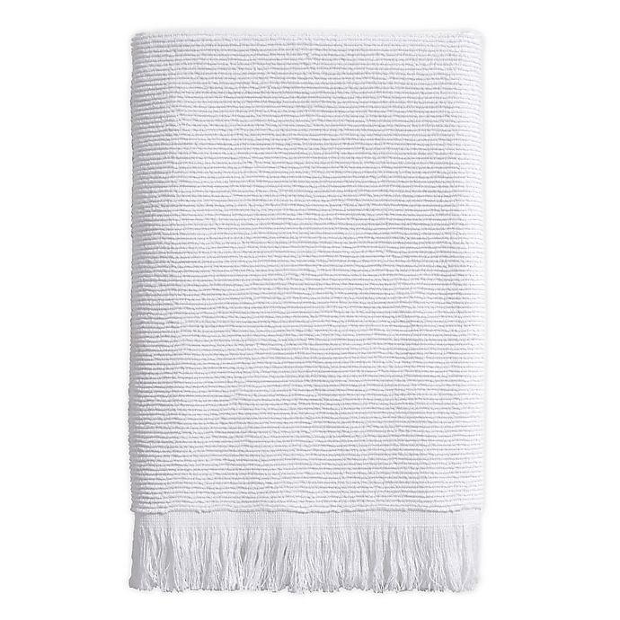 Alternate image 1 for Ribbed Fringe Bath Towel in White