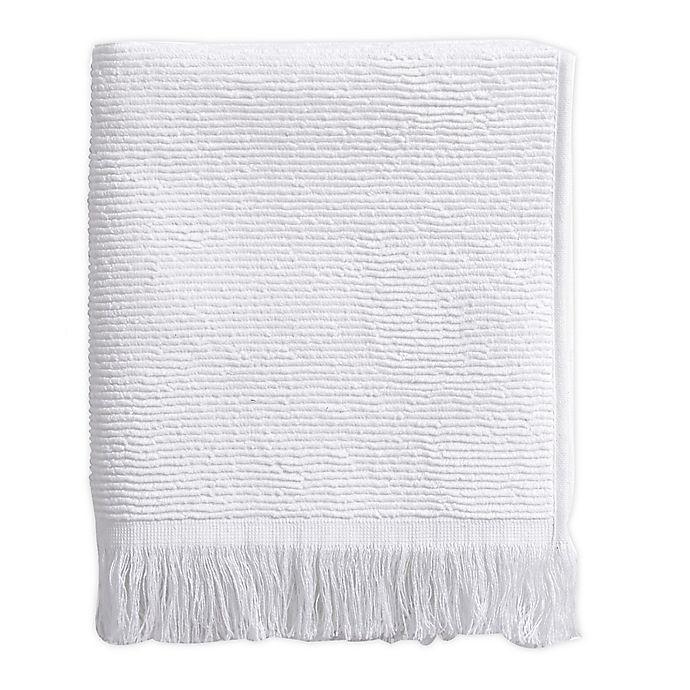 Alternate image 1 for Ribbed Fringe Hand Towel in White