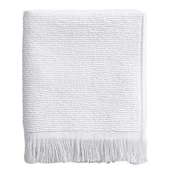 Ribbed Fringe Hand Towel in White