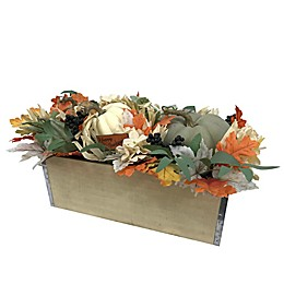 Wooden Box with Pumpkin and Floral 24-Inch Table Piece in Multicolor