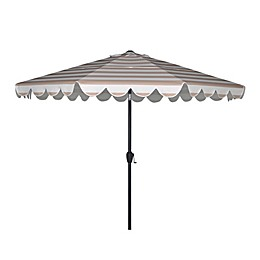 2-Tiered 9-Foot Scalloped Cabana Stripe Patio Umbrella in Beige