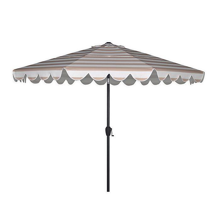Alternate image 1 for 2-Tiered 9-Foot Scalloped Cabana Stripe Patio Umbrella in Beige