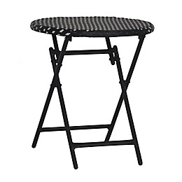 Parisian Wicker Folding Table in Black/White