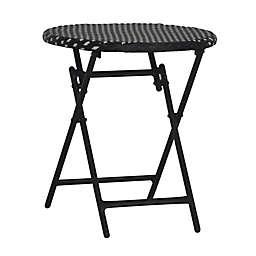 Parisian Wicker Folding Table in Black/White