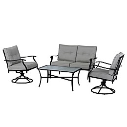 Destination Summer 4-Piece Tufted Patio Converation Set in Black