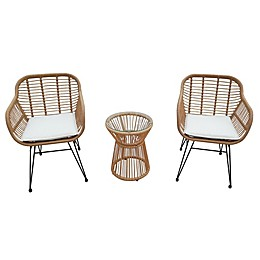 Destination Summer 3-Piece Wicker Rope Bistro Patio Furniture Set in Tan