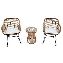 Destination Summer 3-Piece Wicker Rope Bistro Patio Furniture Set in Tan
