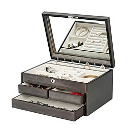 Mele & Co. Claudia Locking Jewelry Chest in Grey