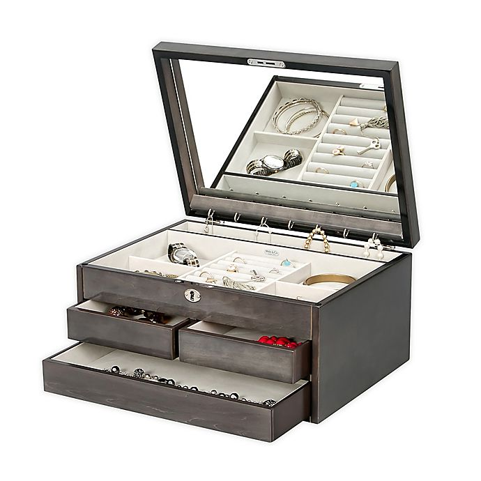 Alternate image 1 for Mele & Co. Claudia Locking Jewelry Chest in Grey