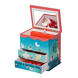 Mele & Co. Mariel Ballerina Musical Jewelry Box in Blue/Coral