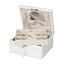 Mele & Co. Edith Locking Fashion Jewelry Box in White