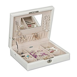 Mele & Co. Evie Locking Fashion Jewelry Box in White