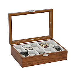 Mele & Co. Jayson Glass Top Wooden Watch Box in Mahogany