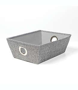 Contenedor poco profundo SALT™ de tweed con ojales en gris