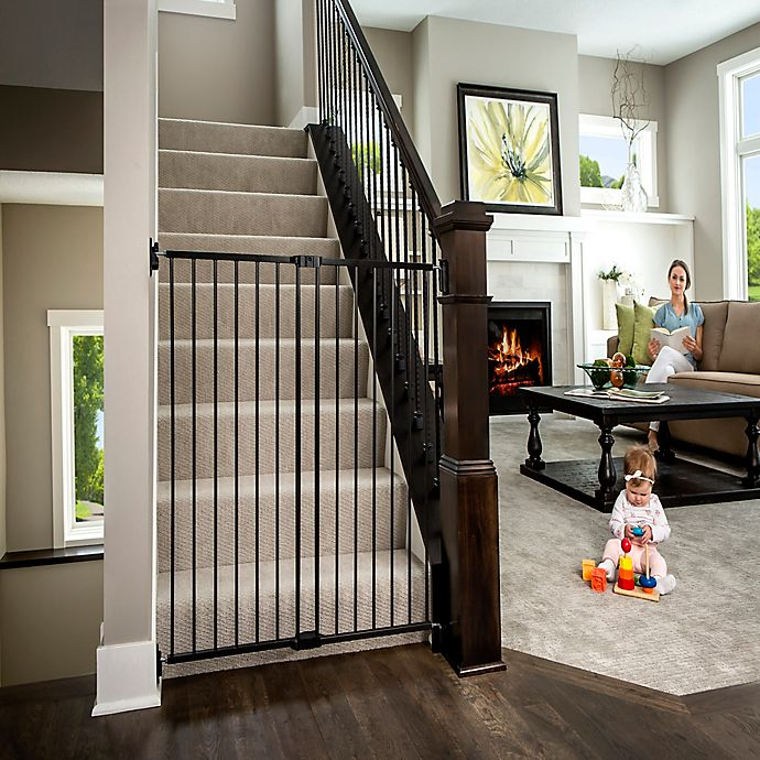 Alternate image 1 for Regalo Extra Tall 2-in-1 Wall Mount Baby Gate in Black