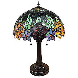 Tiffany Style Roses 2-Light Table Lamp