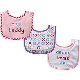 Luvable Friends® 3-Pack Daddy Drooler Bib Set in Pink