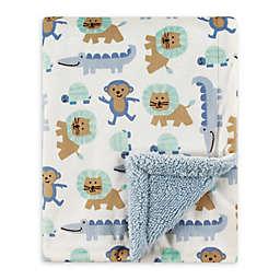 Luvable Friends® Jungle Mink/Sherpa Receiving Blanket in Blue