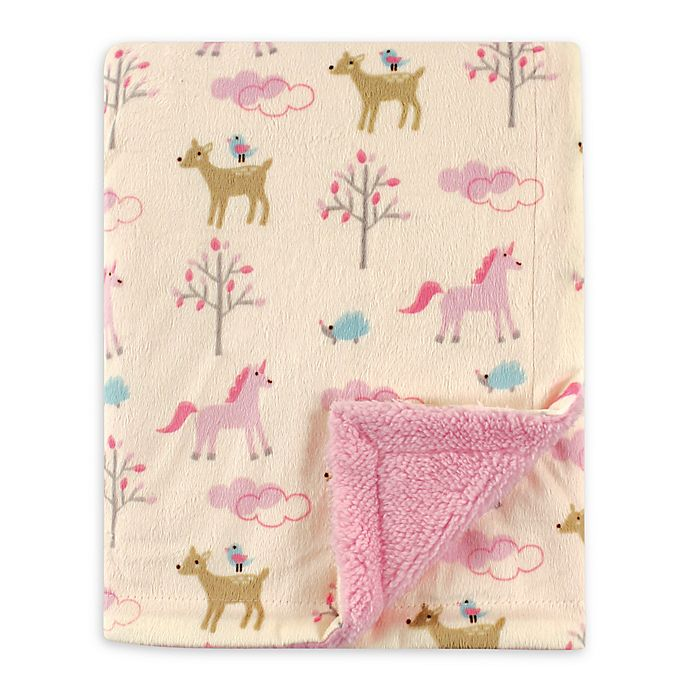 Alternate image 1 for Luvable Friends® Forest Mink/Sherpa Receiving Blanket in Cream