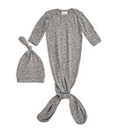 aden + anais® Size 0-3M 2-Piece Knot Gown and Hat Set in Grey