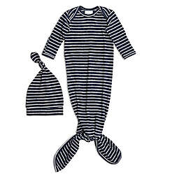 aden + anais® Size 0-3M 2-Piece Knot Gown and Hat Set in Navy