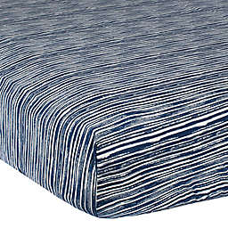 Gerber® Stripe Cotton Fitted Crib Sheet in Navy/Ivory