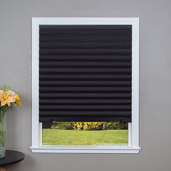 Alternate image 1 for Redi Shade® Pleated Cordless 48-Inch x 72-Inch Blackout Paper Window Shade in Black