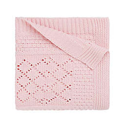 Elegant Baby Textured Knit Blanket in Pink