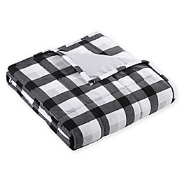 Plaid Weighted Blanket in Black/Grey