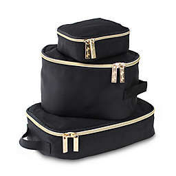 Itzy Ritzy® Packing Cubes in Black/Gold (Set of 3)