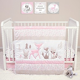 Sammy & Lou 4-Piece Forest Friends Crib Bedding Set in Pink