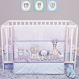 Sammy & Lou Safari Yearbook 4-Piece Crib Bedding Set in Periwinkle