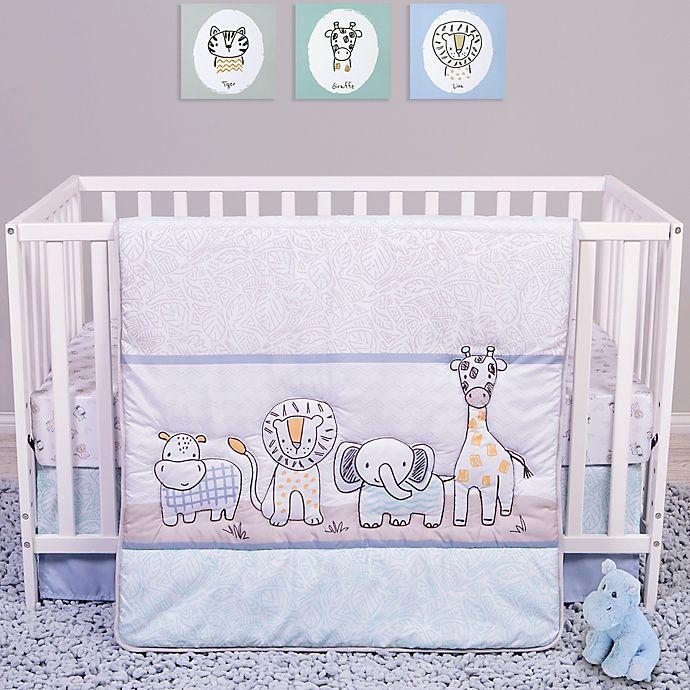 Alternate image 1 for Sammy & Lou Safari Yearbook 4-Piece Crib Bedding Set in Periwinkle