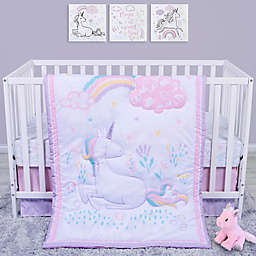 Sammy & Lou 4-Piece Unicorn Crib Bedding Set in Pink