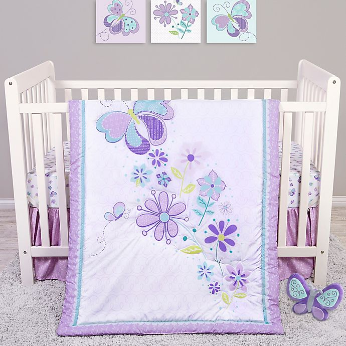 Alternate image 1 for Sammy & Lou Butterfly Meadow 4-Piece Crib Bedding Set