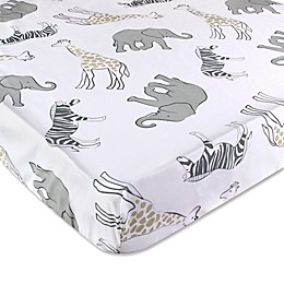 OiOi Safari Collection Fitted Crib Sheet in Grey