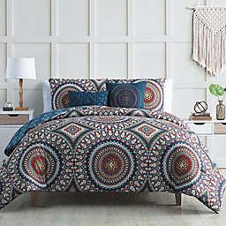VCNY Home Compton 5-Piece Reversible Full/Queen Comforter Set in Red