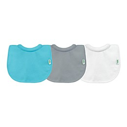 green sprouts® 3-Pack Milk Catcher Stay-Dry Bibs in Aqua and Grey