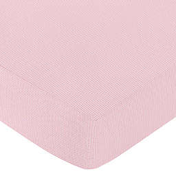 Sweet Jojo Designs Pink French Toile Fitted Gingham Crib Sheet in Pink/White