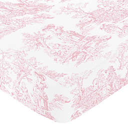 Sweet Jojo Designs Pink French Toile Fitted Toile Print Crib Sheet in Pink/White