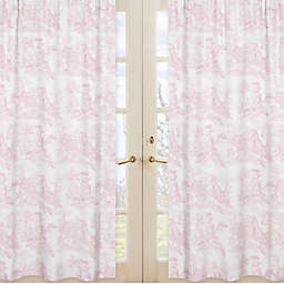 Sweet Jojo Designs French Toile 84-Inch Window Panels in Pink (Set of 2)