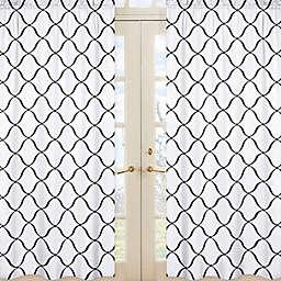 Sweet Jojo Designs® Princess 42-Inch x 84-Inch Window Panels in Black/White/Purple