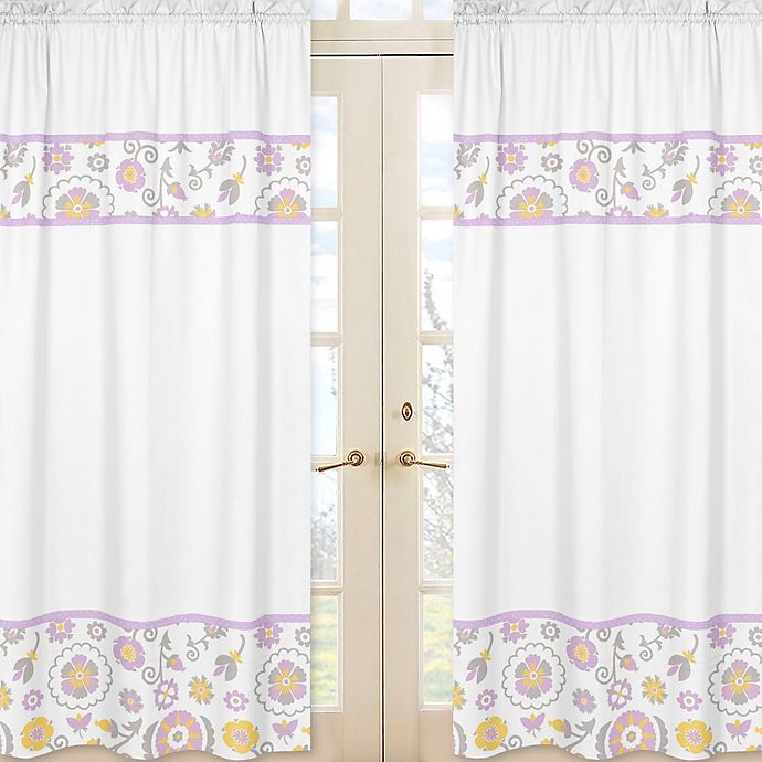Alternate image 1 for Sweet Jojo Designs Suzanna 84-Inch Window Panels in Lavender/White (Set of 2)