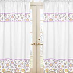 Sweet Jojo Designs Suzanna 84-Inch Window Panels in Lavender/White (Set of 2)