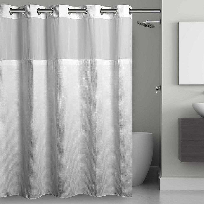 Hookless® Waffle Fabric Shower Curtain and Snap in Liner Set | Bed