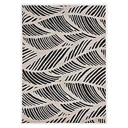 KAS Lucia Folia 3'3 x 4'11 Indoor/Outdoor Accent Rug in Black/White
