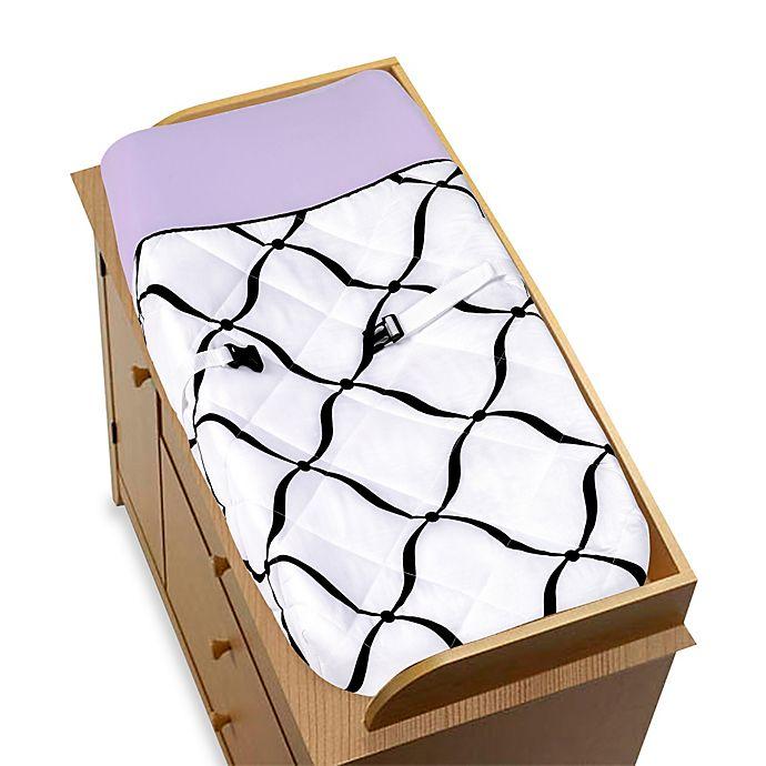 Alternate image 1 for Sweet Jojo Designs Princess Changing Pad in Black/White/Purple