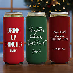 Christmas Expressions Slim Can Cooler