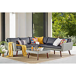 Albany All-Weather Wicker Corner Sectional Sofa with Coffee Table in Light Grey/Dark Denim