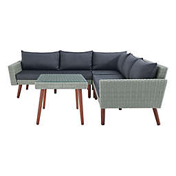 Albany All-Weather Wicker Corner Sectional Sofa with Cocktail Table in Light Grey/Dark Denim